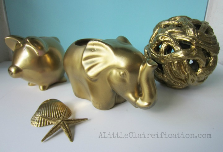 DIY Gold Home Decor at ALittleClaireification.com #gilded #goldleaf @ALittleClaire