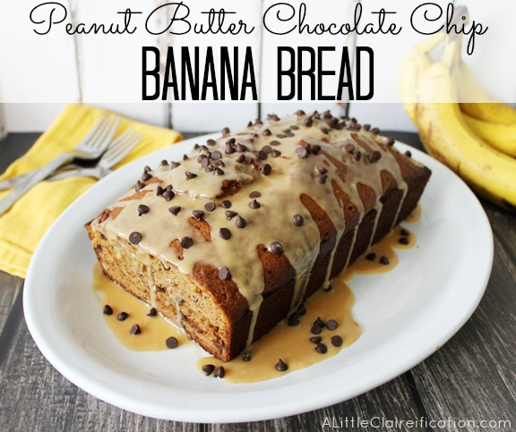Peanut Butter Chocolate Chip Banana Bread at ALittleClaireification #recipe