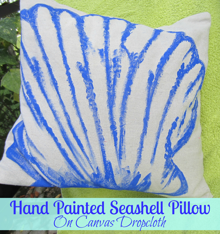 Hand Painted Seashell Pillow with ALittleClaireification.com #DIY #Crafts #Beach
