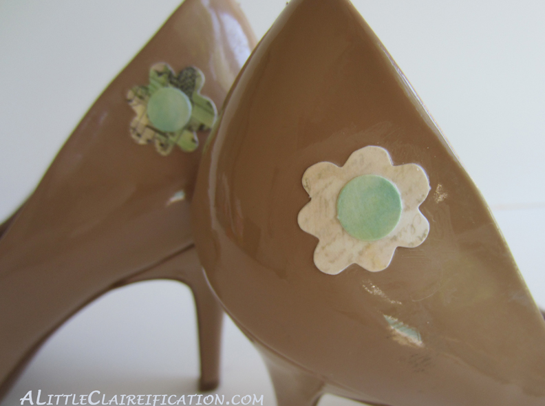 Mod Podge Shoes {Thrift Store Finds} with ALittleClaireification.com #Crafts #ModPodge @ALittleClaire