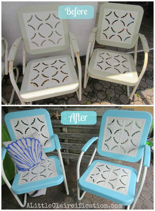 Metal Patio Furniture Makeover By ALittleClaireification.com /  @ALittleClaire #furniture #restoration #