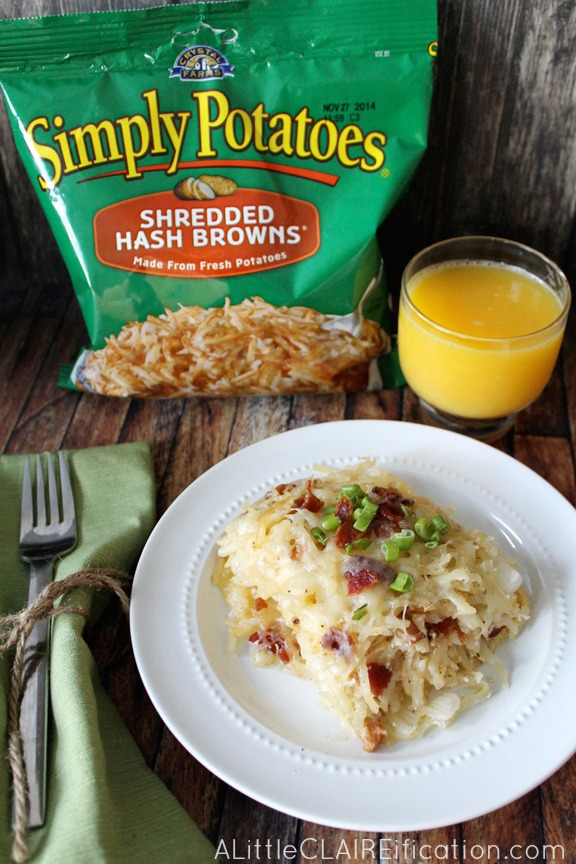 Bacon and Swiss Hash Brown Casserole - Easy Overnight Holiday Breakfast Ideas
