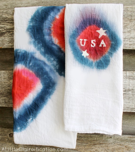 DIY 4th Of July Tie Dye Tea Towels at ALittleClaireification.com #crafts #tdys