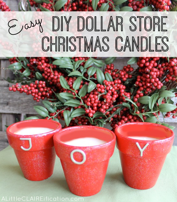 DIY Dollar Store Holiday Candles  - Christmas In July