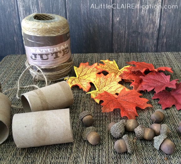 DIY Thanksgiving Acorn Napkin Rings - Made with paper towel holders and just a few supplies!