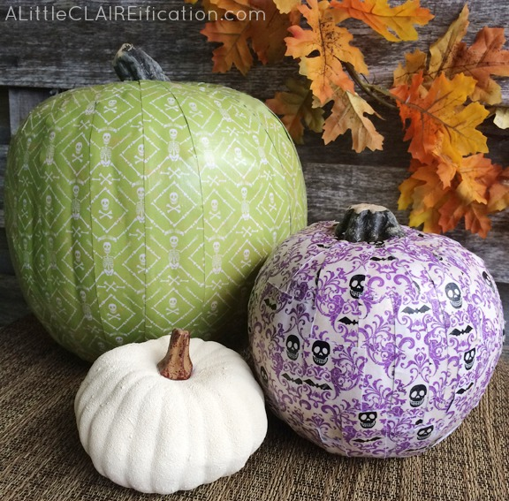Decorative Scrapbook Paper Pumpkins - Easy Halloween Crafts. You only need 4 items to make these!