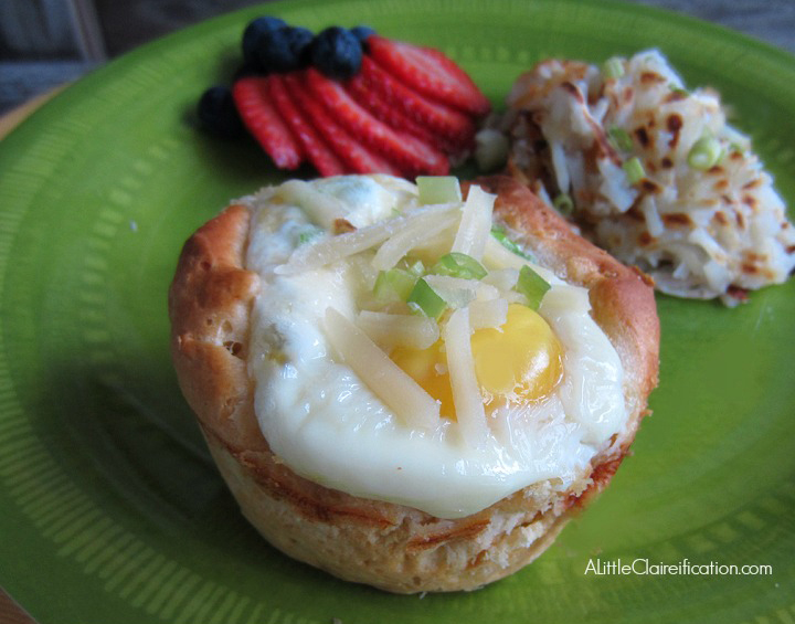 Baked Biscuit Egg Cups With Sausage & Parmesan at ALittleClaireification.com #recipes #breakfast #foodie @ALittleClaire