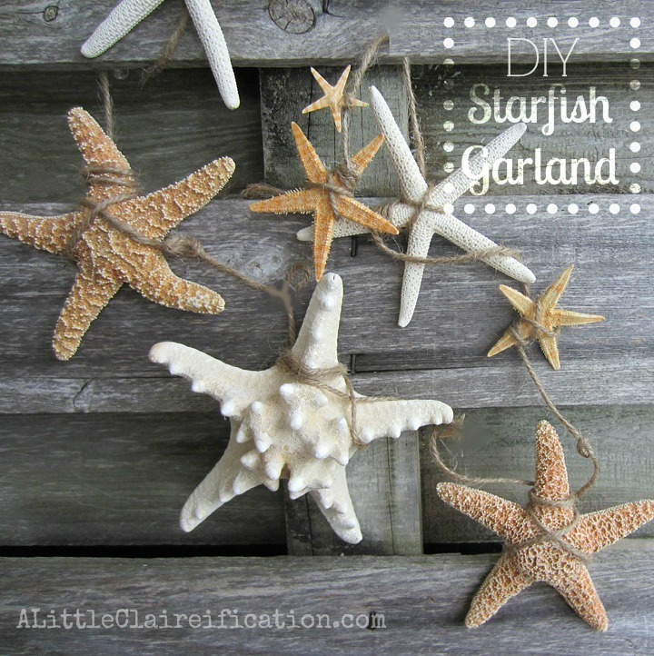 DIY Starfish Garland at ALittleClaireification.com #starfish #DIY #Crafts @ALittleClaire