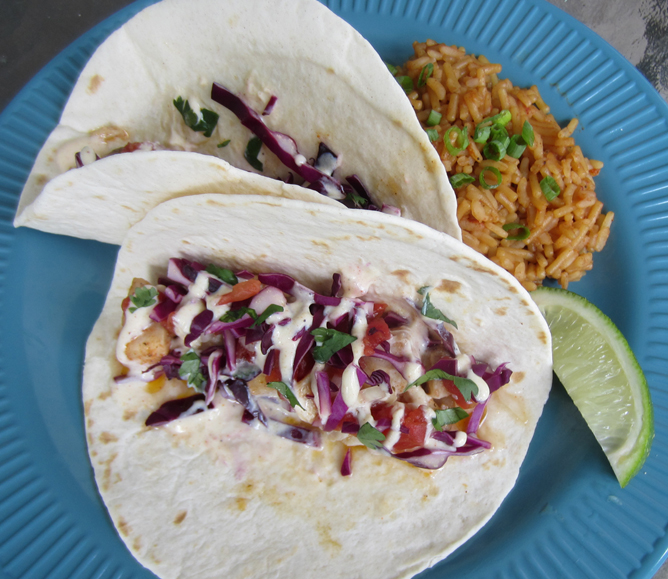 Fish Tacos with Chili Lime Dressing