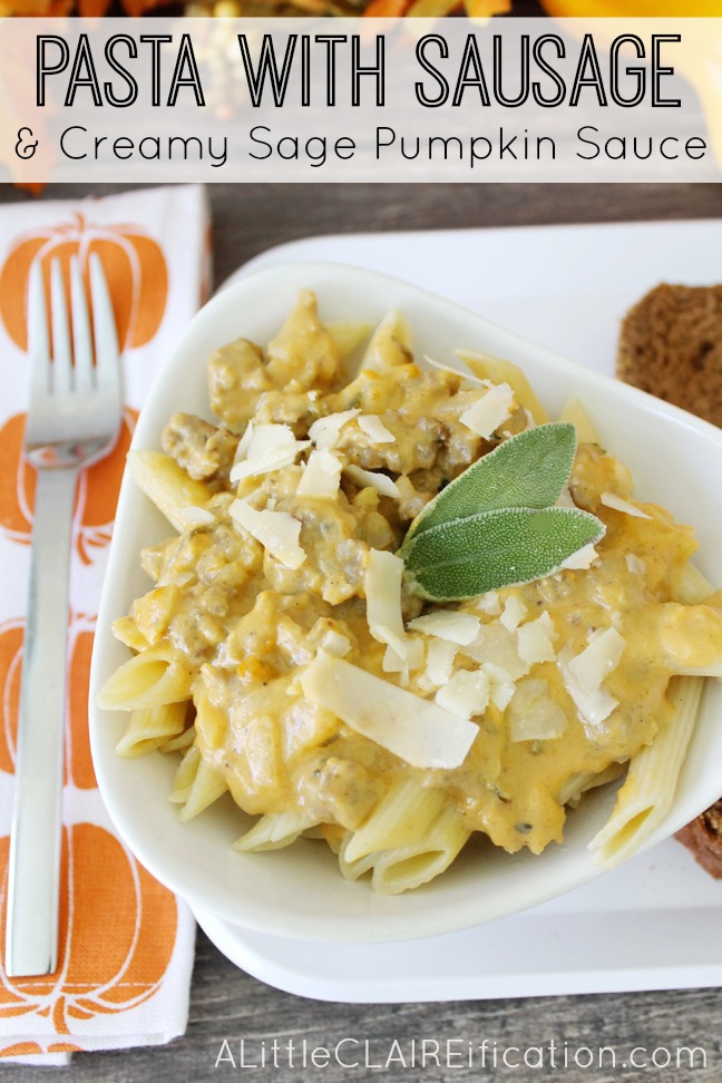 Pasta With Sausage & Creamy Sage Pumpkin Sauce - this is DELICIOUS and easy to make too.