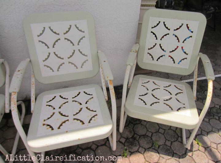 restoration outdoor furniture. Metal Patio Furniture Makeover By ALittleClaireification.com / @ALittleClaire #furniture #restoration # Restoration Outdoor
