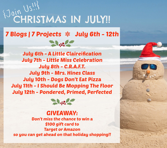 Christmas In July - A Fun Series & Giveaway by ALittleClaireification.com #giveaway #Christmas #crafts @ALittleClaire