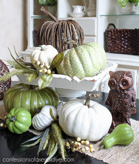 Thrifty Fall Decor In Green... I LOVE these colors!!