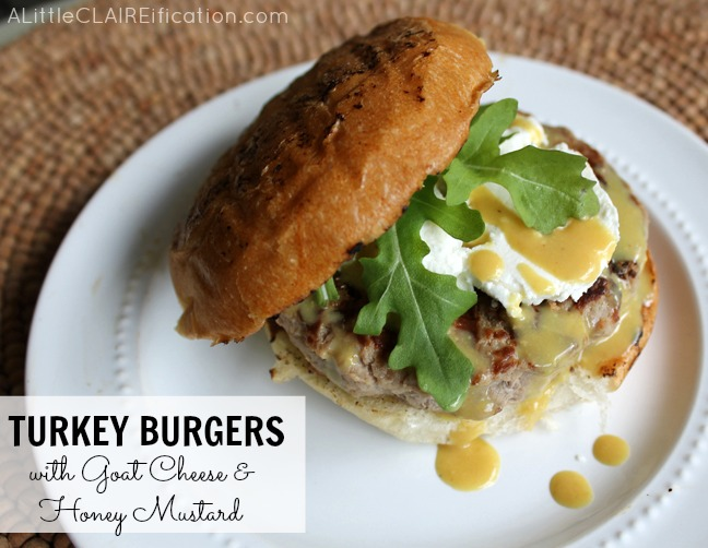 Delicious Turkey Burgers With Goat Cheese and Honey Mustard
