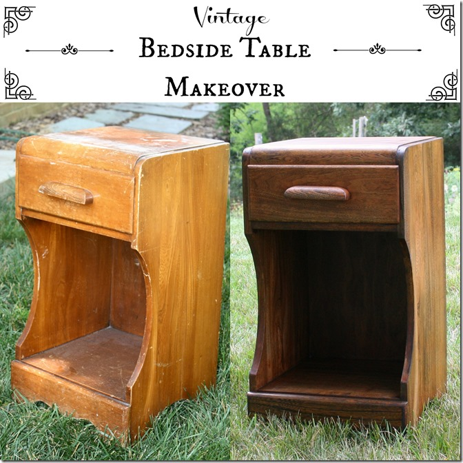 Vintage Bedside Table Makeover by virginiasweetpea.com