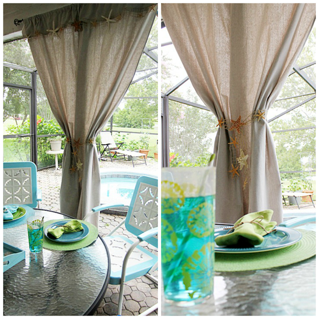 DIY Beach Inspired Starfish Patio Curtains at ALittleClaireification.com #seashells #crafts #starfish #patio