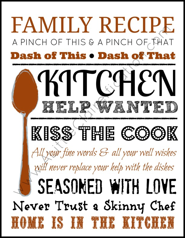 graphic about Free Kitchen Printables identified as Residence Is Within just The Kitchen area A Foodie Impressed No cost Printable