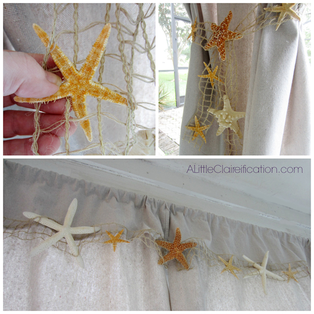 Beach Inspired Patio Curtains by ALittleClaireification.com #Patio #makeover #beach #DTCasualElegance