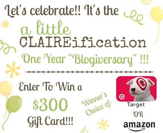 Blogiversary Celebration at ALittleClaireification #Giveaway