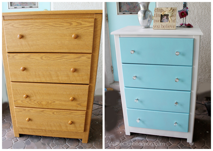A Budget Dresser Makeover at ALittleClaireification.com #DIY #Furniture #Makeover