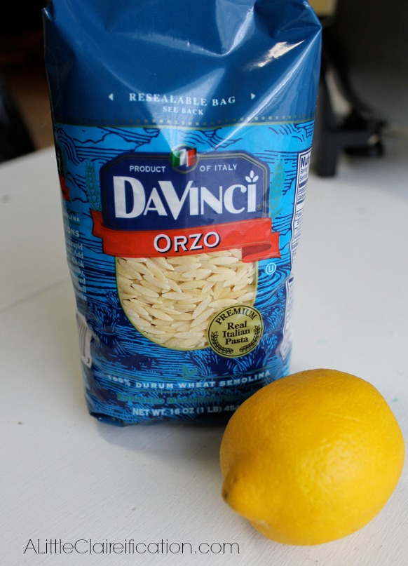 Drunken Lemon Orzo recipe with ALittleClaireification.com #recipes #lemons #orzo