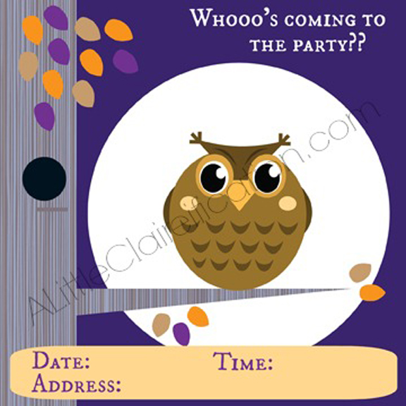 Printable Owl Halloween Invitation at ALittleClaireification.com #Halloween #Printable #Free