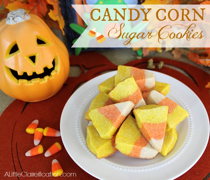 Candy Corn Sugar Cookies at ALittleClaireification.com #Recipe #Halloween #Cookies