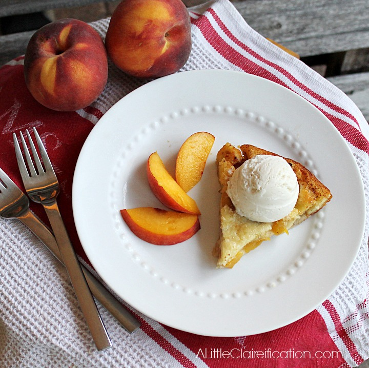Baked Peach Pancake Recipe | Easy Dessert w/ ALittleClaireification.com #recipes #peaches #foodie
