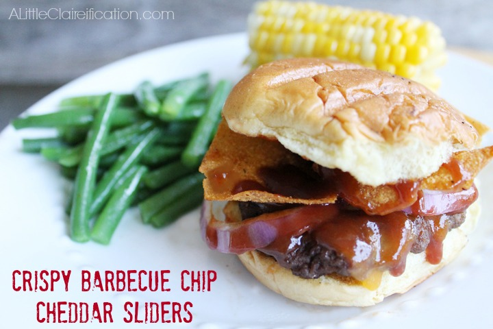 Crispy Barbecue Chip Cheddar Sliders at A LittleClaireification.com #recipes #sliders #BBQ #GiantFlavor
