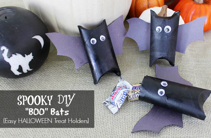 Halloween Boo Bats Treat Holders Toilet Paper Roll Crafts A