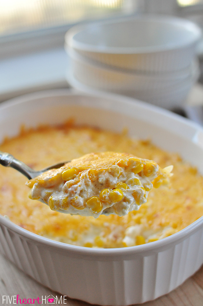 Creamy Cheesy Corn Casserole & More at ALittleClaireification.com #recipes #crafts #DIY #linky