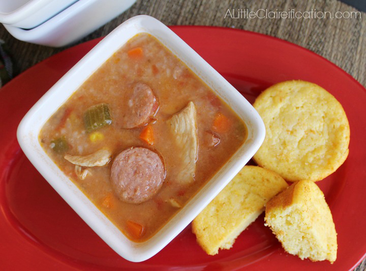 Hearty Cajun Chicken & Sausage Soup Recipe at ALittleClaireification.com #soup #emealstotherescue #pmedia #recipe