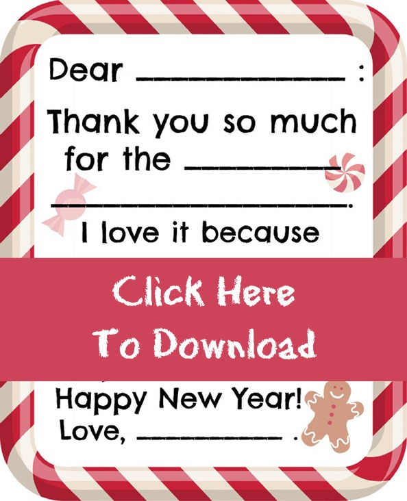 Free Printable Christmas Kids Thank You Note at ALittleClaireification.com #free #printables #holidays #crafts