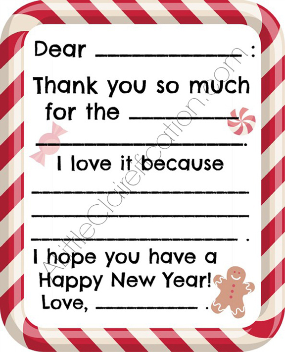 Free Kids Christmas Thank You Note - at ALittleClaireification.com #free #printables #holidays #crafts