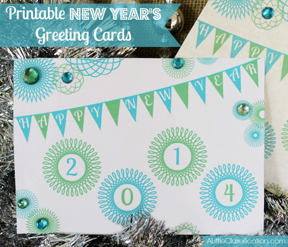 image about Printable New Year Cards titled Absolutely free Printable Clean A long time Greeting Playing cards - A Minor