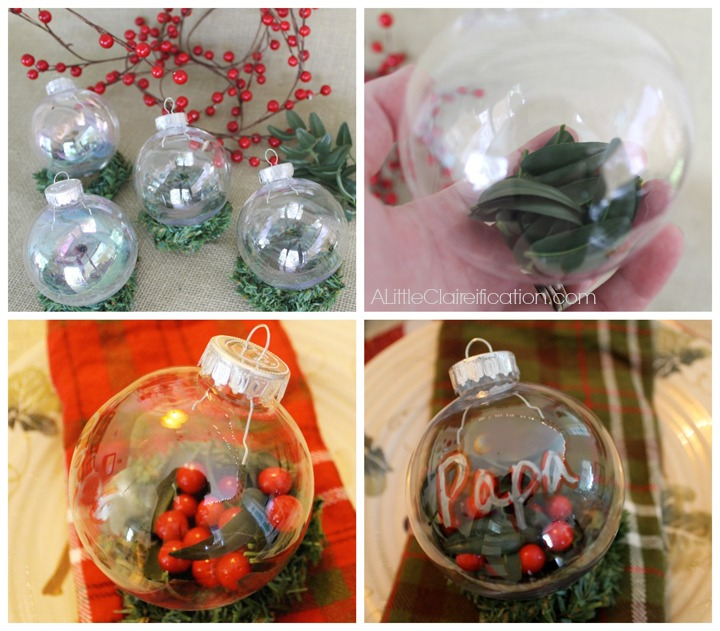 DIY Pepperberry Ornament Placecards at ALittleClaireification.com #Holidays #Crafts #DIY