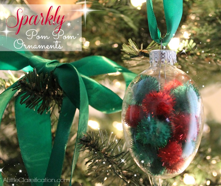 DIY Sparkly Pom Pom Ornaments | Budget Friendly Holiday Crafts  - ALittleClaireification.com #Holidays #Crafts #DIY