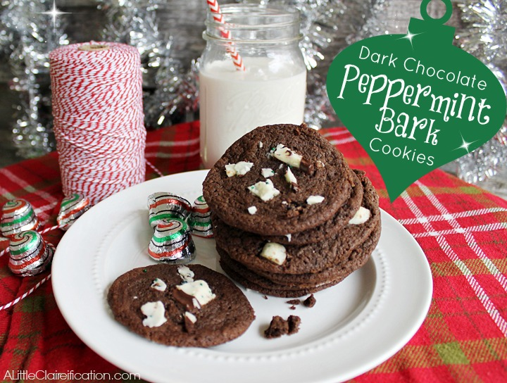Dark Chocolate Peppermint Bark Cookies at ALittleClaireification.com # ...