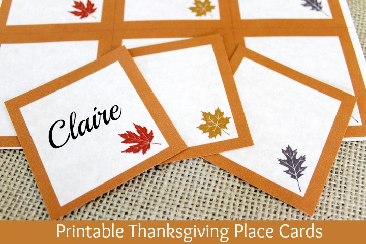 Free Printable Thanksgiving Place Cards at ALittleClaireification.com @ crafts #Thanksgiving #DIY