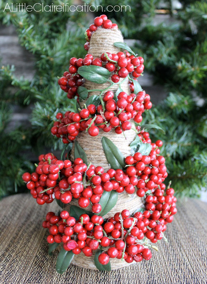DIY Pepperberry & Jute Trees at ALittleClaireification.com #Holidays #Crafts #DIY