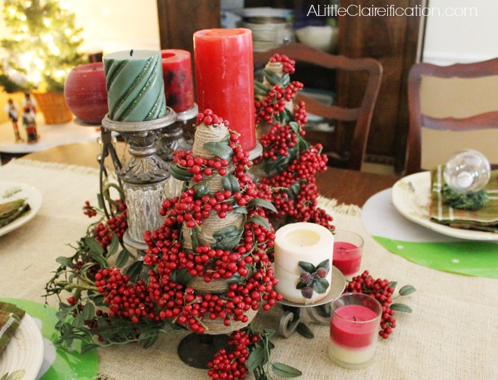 Holiday Home Tour & DIY Pepperberry Ornament Placecards at ALittleClaireification.com #Holidays #Crafts #DIY