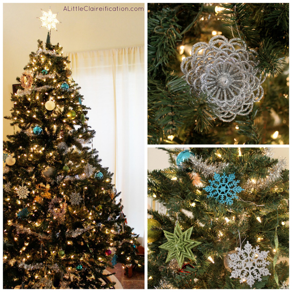 Blue & Green Christmas Tree and Holiday Home Tour at ALittleClaireification.com #Holidays #Crafts #DIY