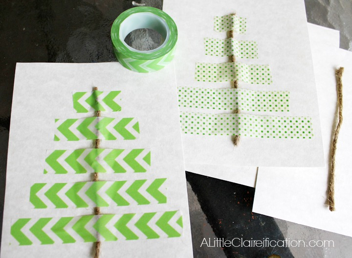 DIY Washi Tape Holiday Cards at ALittleClaireification.com #Holidays #Crafts #DIY