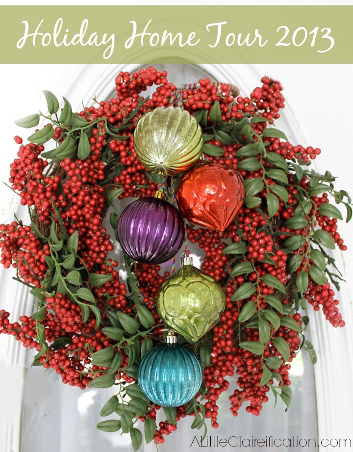 Decorated Pepperberry Wreath and Home Tour at ALittleClaireification.com #Holidays #Crafts #DIY