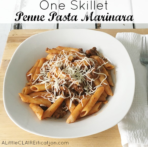 One Skillet Penne Beef Marinara - family dinner made easy