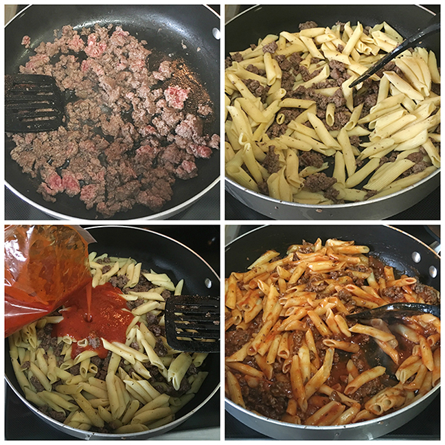 One Skillet Penne Beef Marinara - ready in less than 15 minutes