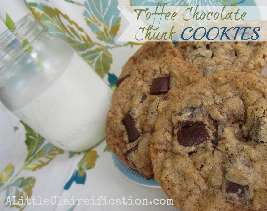 The Best Toffee Chocolate Chunk Cookies {Ever} by ALittleClaireification.com #recipes #cookies #toffee @ALittleClaire