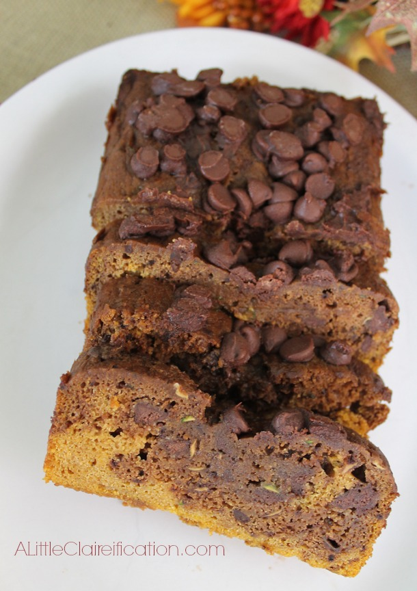 Chocolate Pumpkin Zucchini Bread at A LittleClaireification.com #recipes #Pumpkin #Fall