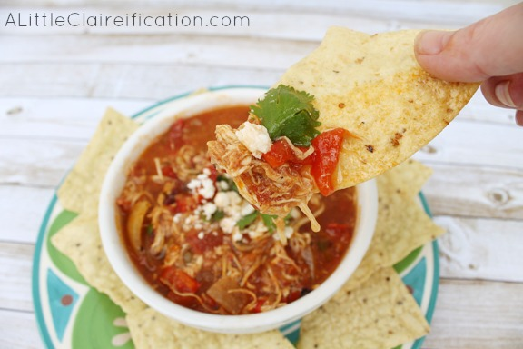 Chilaquiles Crock Pot Chicken Soup Recipe #slowcooker #recipe #MexicanFood