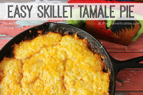 Mexican Skillet Tamale Pie Recipe by ALittleClaireification.com for ThisGalCooks.com #recipe #Mexican #Skillet